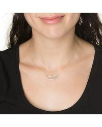 Kacey K   Metallic Block Diamond Rim Necklace   Lyst