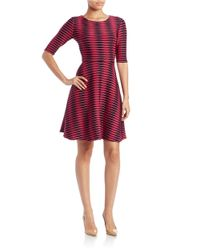 Donna Morgan | Blue Wave Stripe A Line Dress | Lyst