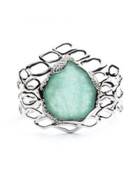 Alexis Bittar | Green Liquid Rhodium Aiguille Cuff In Amazonite Doublet You Might Also Like | Lyst