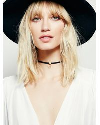 Free People - Black Luiny Sol Leather Choker - Lyst