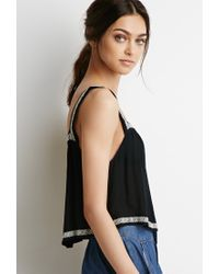 Forever 21 | Black Embroidered-trim Top | Lyst
