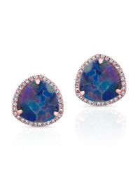Anne Sisteron | Purple 14kt Rose Gold Opal Diamond Heavenly Stud Earrings | Lyst