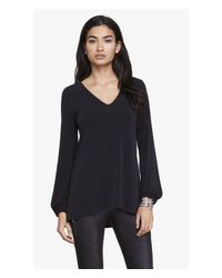 Express | Black V-neck Lace-up Back Tunic | Lyst