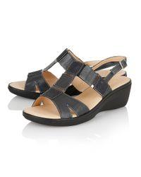 Lotus - Blue Jenga Open Toe Sandals - Lyst