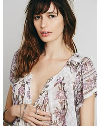Free People | White Fp One Womens Fp One Short Sleeve Printed Peasant Top | Lyst