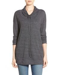 Bobeau | Gray Funnel Neck Ribbed Top | Lyst
