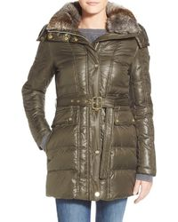 Vince Camuto | Green Down & Feather Fill Coat With Faux Fur Lined Hood | Lyst