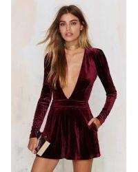 Lioness - Purple Luck Be A Lady Velvet Romper - Burgundy - Lyst