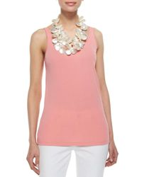 Eileen Fisher - Pink Stretch Silk Long Cami - Lyst