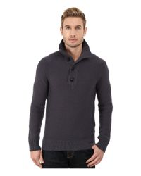 BOSS Orange - Blue Amaren Mock Neck Four Button Lambswool & Cotton Sweater for Men - Lyst