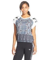 Adidas Originals - Black 'la' Mix Print Tee - Lyst