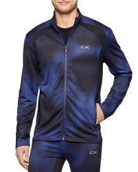 Calvin Klein | Blue Dotted Print Zip Jacket for Men | Lyst