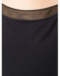 Armani - Black Sheer Detail Tank Top - Lyst