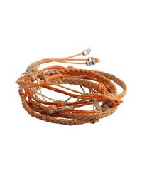 Sogoli | Orange Fabric And Chain Braided Knot Convertible Wrap Bracelet | Lyst