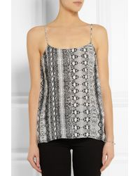 Equipment | Black Cara Snakeprint Washed silk Camisole Top | Lyst