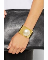 Kenneth Jay Lane - Metallic Gold-Plated Faux Pearl Cuff - Lyst