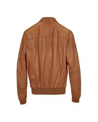 FORZIERI - Brown Tan Leather Bomber Jacket for Men - Lyst