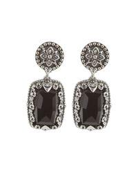 Konstantino | Black Silver & Onyx Rectangular Drop Earrings | Lyst