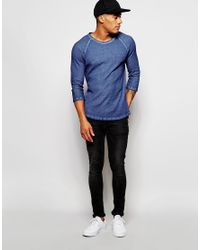 ASOS - Waffle Jersey Extreme Muscle 3/4 Sleeve T-shirt With Oil Wash In Blue for Men - Lyst