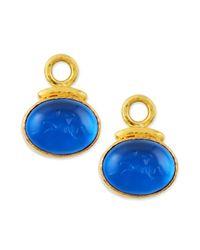 Elizabeth Locke | Blue 19k Gold Equestrian Intaglio Earring Pendants | Lyst