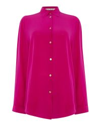 Acne Studios | Pink Long Sleeve Sheer Button Up Shirt | Lyst