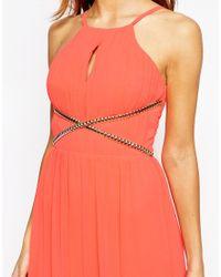 Lipsy - Orange High Neck Maxi Dress With Chain Waist Detail - Lyst