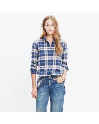 Madewell - Blue Rivet & Thread Flannel Slim Tunic Shirt In Hailey Plaid - Lyst