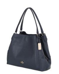 COACH - Blue Edie Grained Leather Shoulder Bag - Lyst