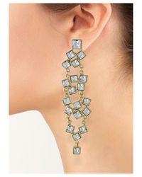 Kenneth Jay Lane | Metallic Crystal Squares Pierced Earring | Lyst
