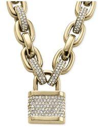 Michael Kors - Metallic Pavé Padlock Necklace - Lyst
