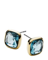 Michael Kors | Blue Cushion Stone Stud Earrings | Lyst