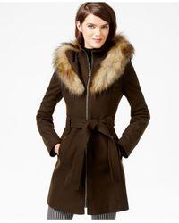 RACHEL Rachel Roy | Green Faux-fur-hood Belted Walker Coat | Lyst