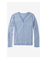 Express | Blue Slub Long Sleeve Y-neck Henley Tee for Men | Lyst