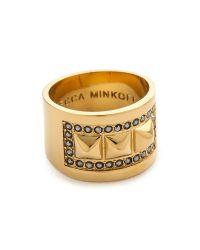 Rebecca Minkoff | Metallic Curbs Stud Ring - Gold/jet | Lyst