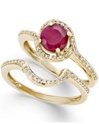 Macy's | Metallic Ruby (1 Ct. T.w.) And Diamond (1/4 Ct. T.w.) Bridal Set Of 2 Rings In 14k Gold | Lyst