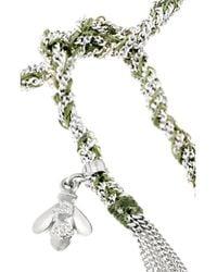 Carolina Bucci - Green Lucky Sterling Silver and Silk Charm Bracelet - Lyst
