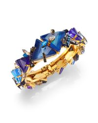 Erickson Beamon - Blue Talitha Crystal Cluster Bangle Bracelet - Lyst