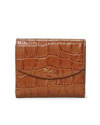 Ralph Lauren | Brown Croc-embossed Leather Wallet | Lyst
