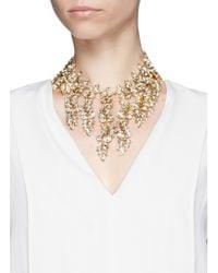 Kenneth Jay Lane | Metallic Crystal Leaf Charm Necklace | Lyst