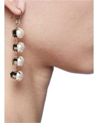 Valentino - Metallic Studs And Faux Pearls Drop Earrings - Lyst