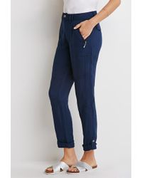 Forever 21 | Blue Contemporary Zippered Moto Pants | Lyst