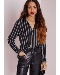Missguided | Cold Shoulder Stripe Shirt Black | Lyst
