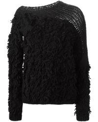 A.F.Vandevorst - Black '152 Tapa' Fringed Sweater - Lyst