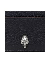 Alexander McQueen - Blue Small Grainy Calf Leather Card Holder for Men - Lyst
