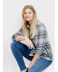 Violeta by Mango | Blue Check Wool-blend Shirt | Lyst