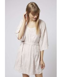 TOPSHOP - Natural Flower Embroidered Robe - Lyst