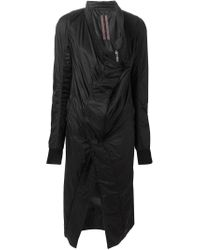 DRKSHDW by Rick Owens - Black Draped Collar Coat - Lyst