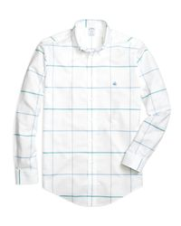 Brooks Brothers | White Non-iron Regent Fit Windowpane Sport Shirt for Men | Lyst