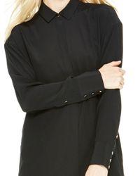 DKNY - Black Silk Shirt Dress - Lyst