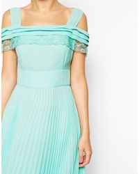 ASOS | Blue Cold Shoulder Pleated Midi Dress | Lyst